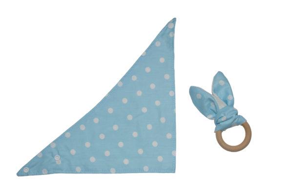 bijtring bandana blauw met stippen