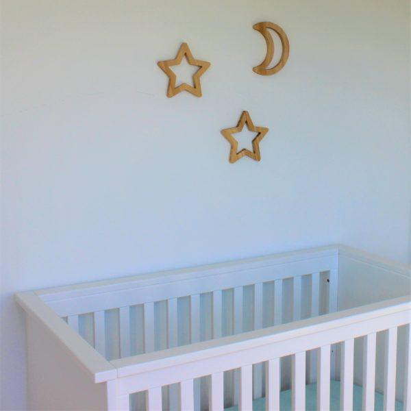 houten maan en sterren muurdecoratie