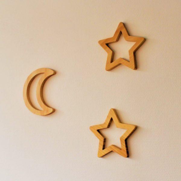 houten muurdecoratie maan en sterren