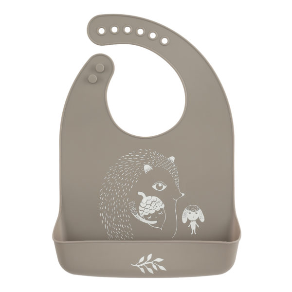 Lille vilde siliconen bib mr hedgehog warm grey
